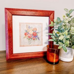 Vintage MCM Red Wood Framed Floral Art Print